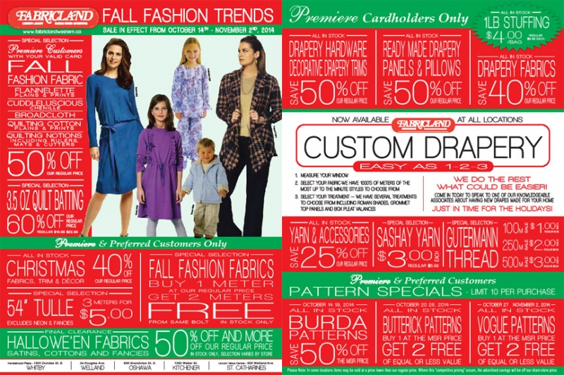 Fabricland sale nov 14 flyer now on. Call your nearest location for more details.