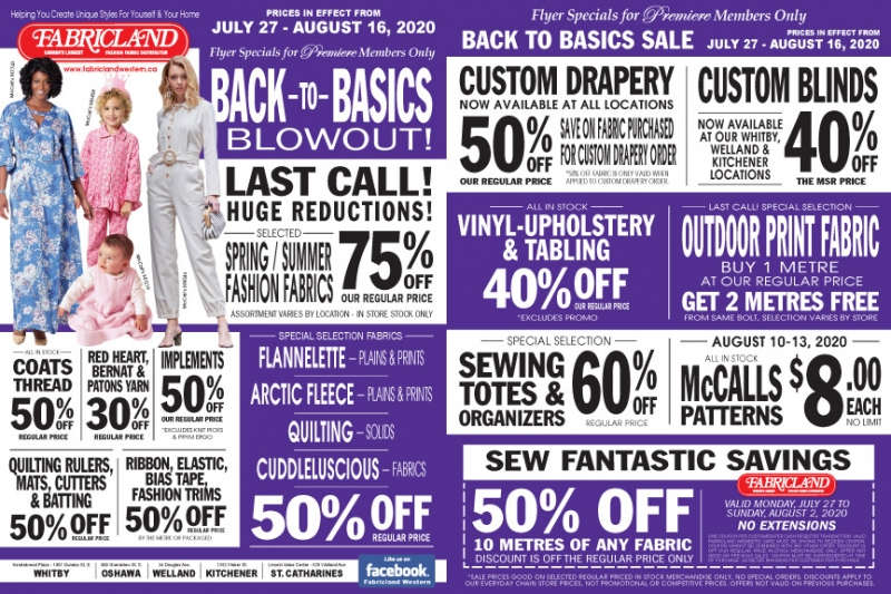Fabricland sale Back to basics Premiere sale now on. Call your nearest location for more details.
